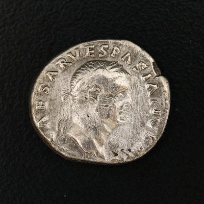 Ancient Roman Imperial AR Denarius of Vespasian, ca. 69 AD