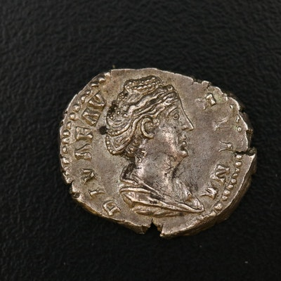 Ancient Roman Imperial AR Denarius of Faustina I, ca. 140 AD