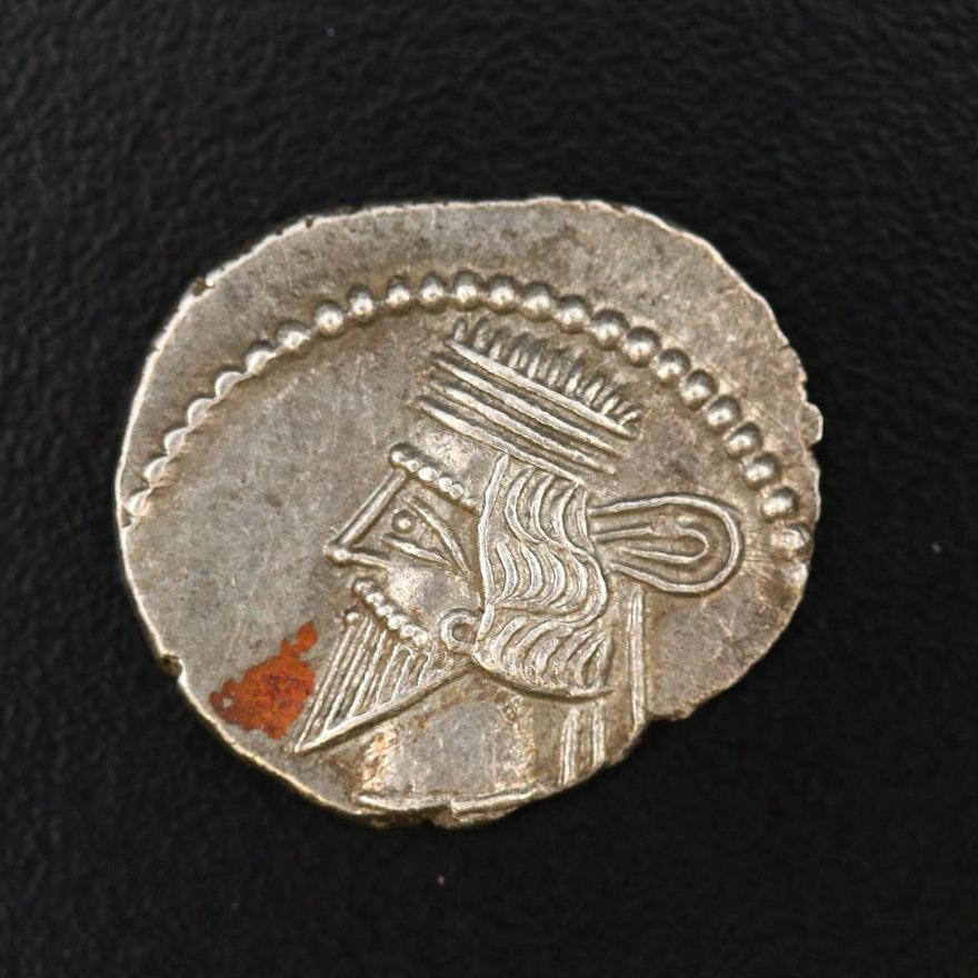 Ancient Parthia AR Drachm Coin of Pakoros I, ca. 78 AD