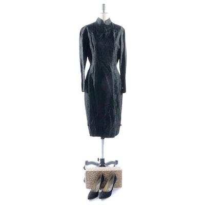 Black Brocade Mandarin Collar Wiggle Dress with Matching Pumps