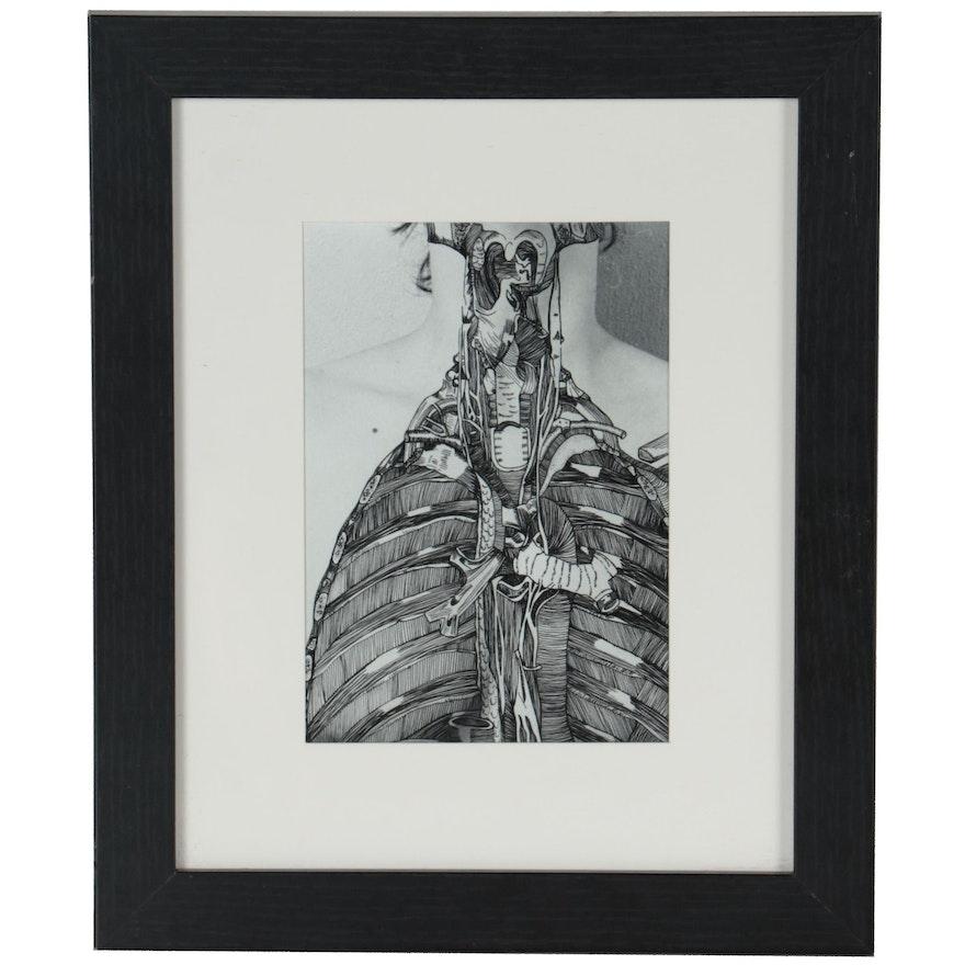 "Angela Christine Smith Embellished Silver Gelatin Print ""Her Chest 3"""
