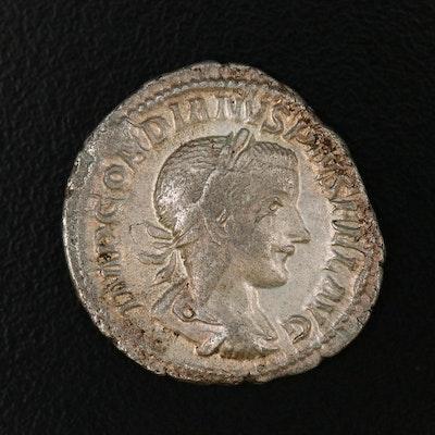 Ancient Roman Imperial AR Denarius of Gordian III, ca. 238 AD