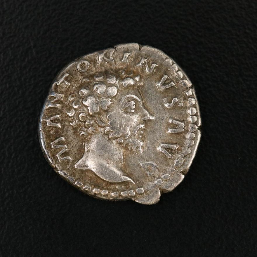 Ancient Roman Imperial AR Denarius of Marcus Aurelius, 138–161 AD