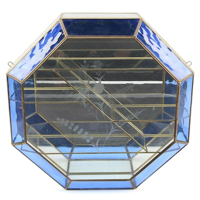 Octagonal Etched and Colored Glass Wall Mounted Curio Cabinet