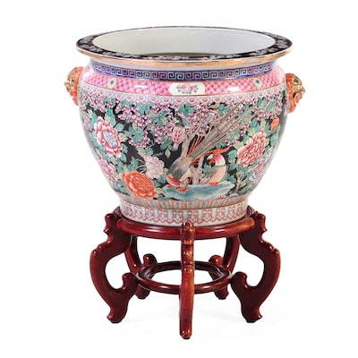 Chinese Polychrome-Enameled Famille Rose Jardinière-on-Stand
