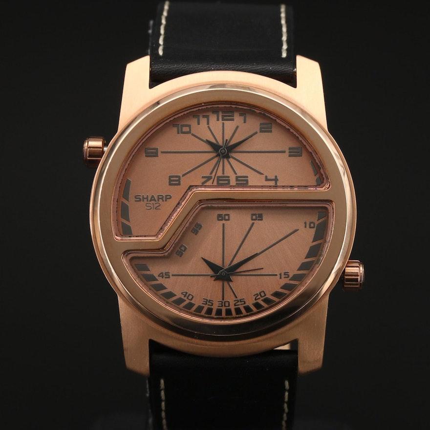 Sharp S12 Volt Dual-Time Rose Gold Tone Quartz Wristwatch