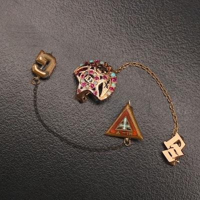 Tie Tack Gemstone Pins Including 14K Kappa Sigma Tie Tack Pin on 10K Chain