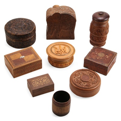 Florentine Leather with Other Wooden and Woven Boxes, Mid to Late 20th Century