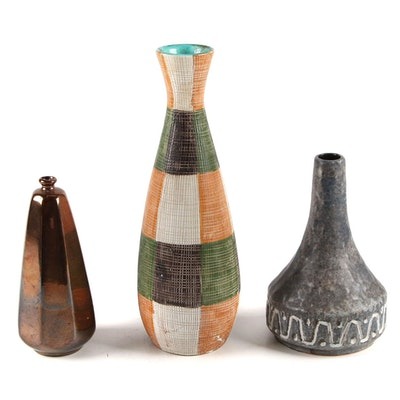 Italian Ceramic Vase with Other Earthenware Vases, Mid-20th Century
