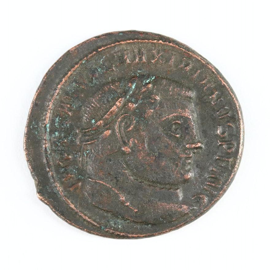 Ancient Roman Imperial AE Follis Coin of Galerius, ca. 300 AD