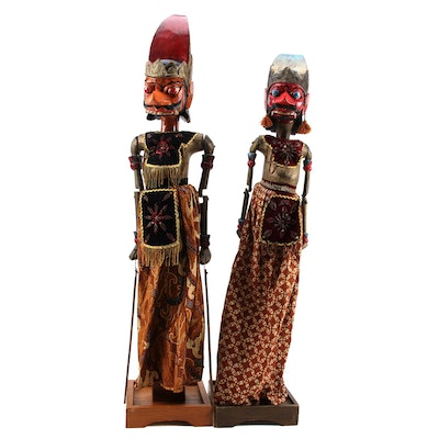Indonesian Handcrafted Wayang Golek Wooden Rod Puppets