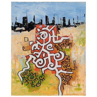 "Lanre Buraimoh Acrylic Painting ""Movement,"" 2021"