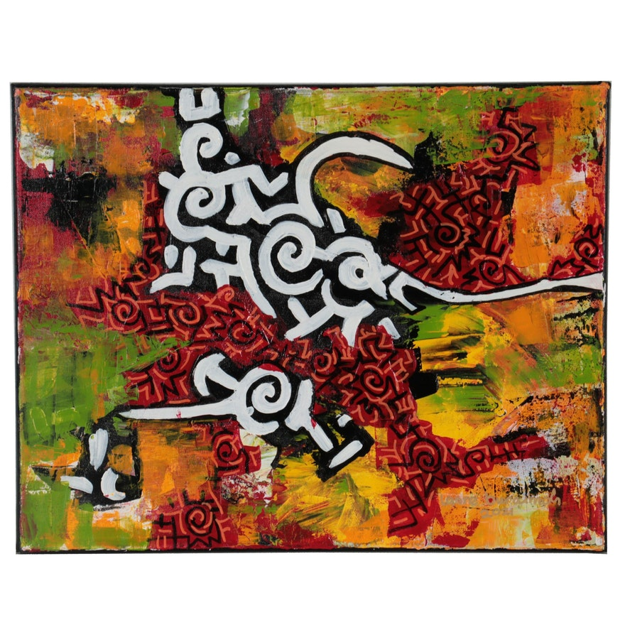 "Lanre Buraimoh Abstract Acrylic Painting ""Moving Apart"""