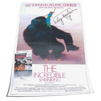 """Lily Tomlin Signed """"The Incredible Shrinking Woman"""" Photo Print Poster, JSA COA"""