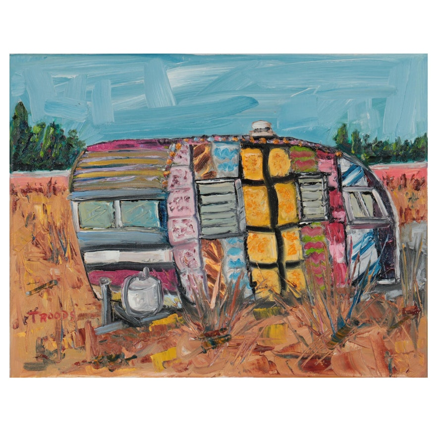 """Patricia Nolan-Brown Oil Painting """"Crochet Covered Trailer,"""" 2021"""