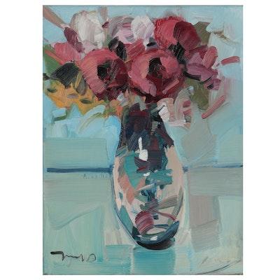 "Jose Trujillo Oil Painting ""Bright Peonies"""