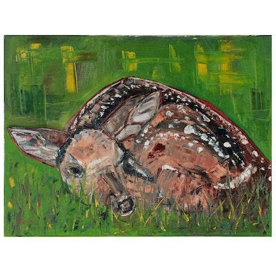 """Patricia Nolan-Brown Oil Painting """"Resting Deer,"""" 2021"""