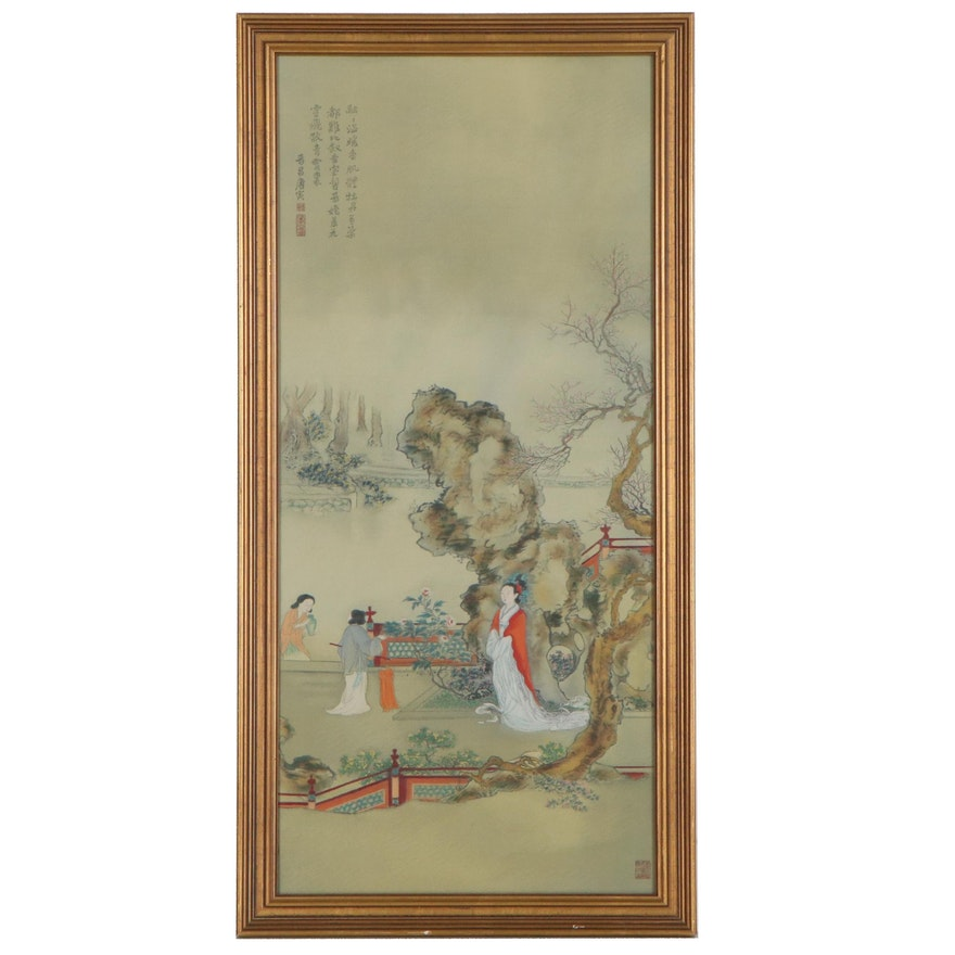 Chinese Gouache Painting on Machine-Woven Fabric of Garden Scene