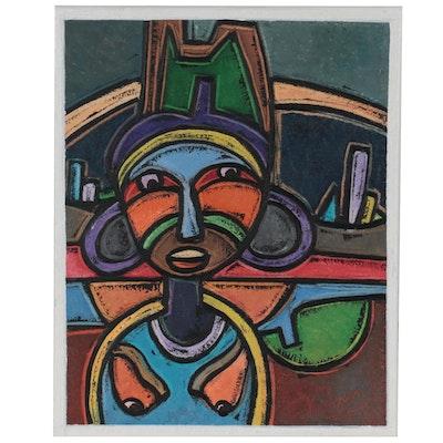 "Lanre Ayuba Acrylic Painting ""Womanhood,"" 2021"