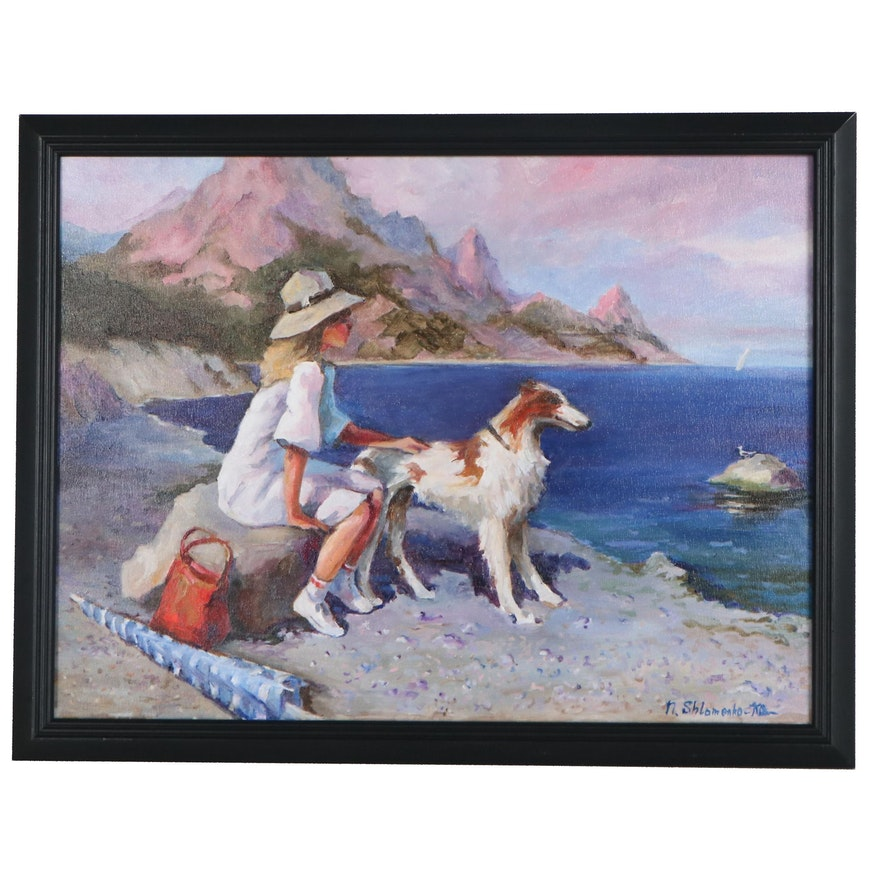 "Nataliya Shlomenko Oil Painting ""By the Sea,"" 2021"