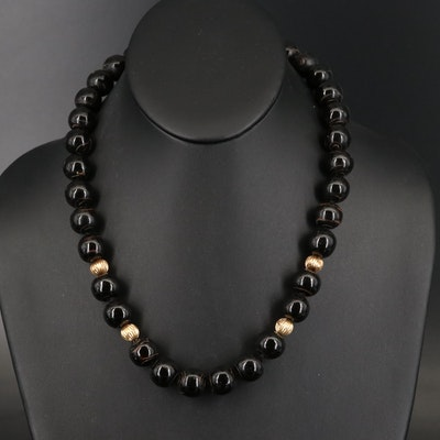14K Coral and Fluted Bead Necklace