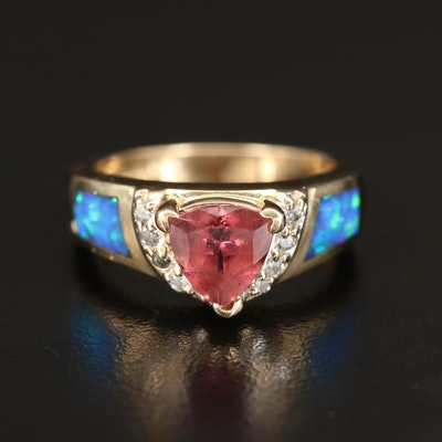 14K Tourmaline, Diamond and Opal Inlay Ring