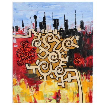 "Lanre Buraimoh Acrylic Painting ""New Land,"" 2021"