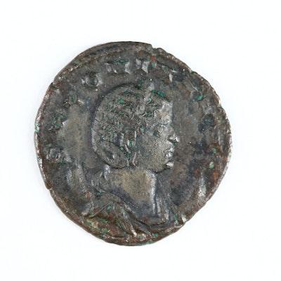 Roman Imperial AE Antoninianus Coin of Salonina, ca. 253 A.D. Mediolanum Mint