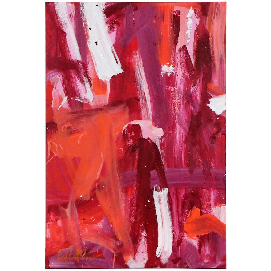 "Robbie Kemper Acrylic Painting ""Pinks, Orange with Magenta,"" 21st Century"