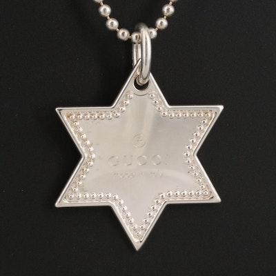 Gucci Sterling Silver Star of David Necklace