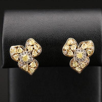 18K 2.85 CTW Diamond Flower Earrings