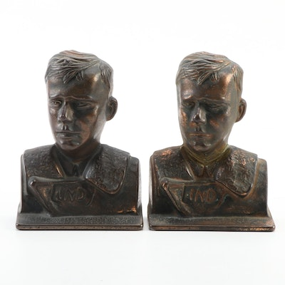 """Verona """"Lucky Lindy"""" Bronzed Cast Iron Bookends, Early 20th Century"""