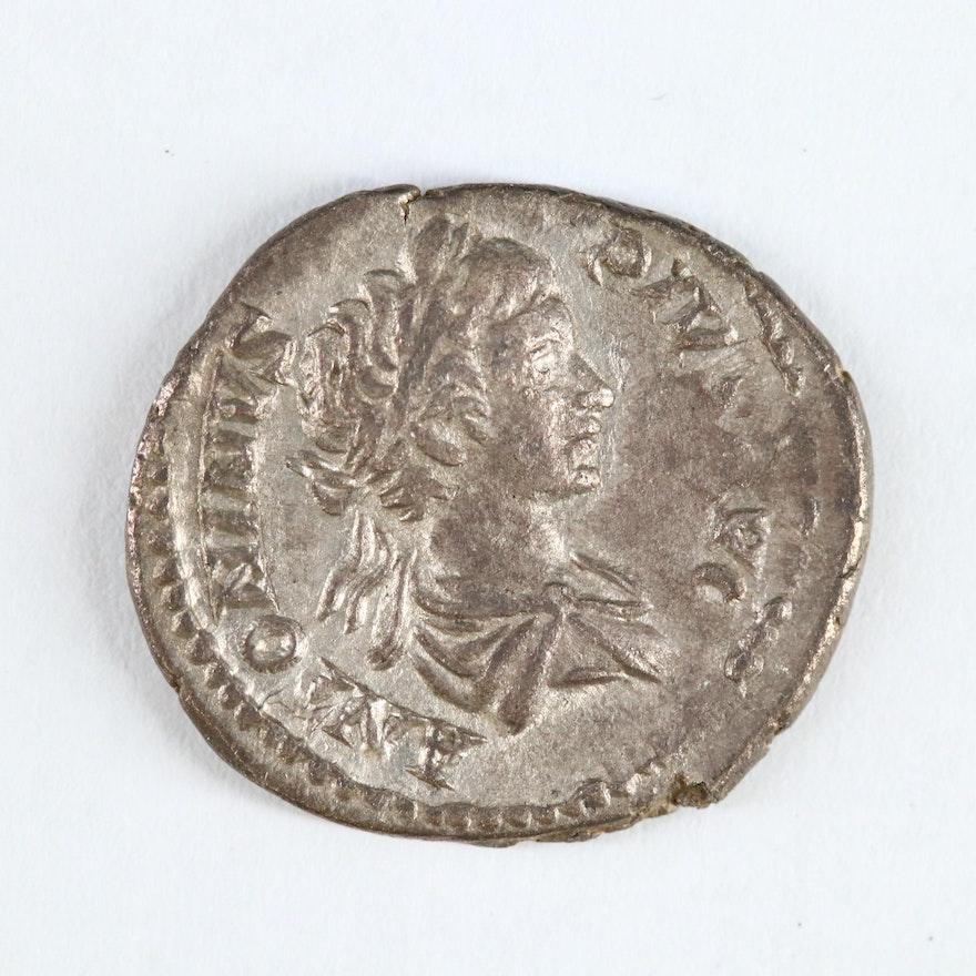Ancient Roman Imperial AR Denarius of Antoninius Pius by Caracalla, ca. 210 AD
