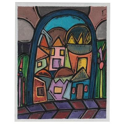 "Lanre Ayuba Acrylic Painting ""Through My Window,"" 2021"