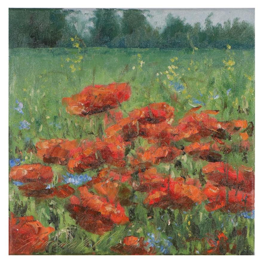 "Garncarek Aleksander Landscape Oil Painting ""Maki (Poppies),"" 2021"