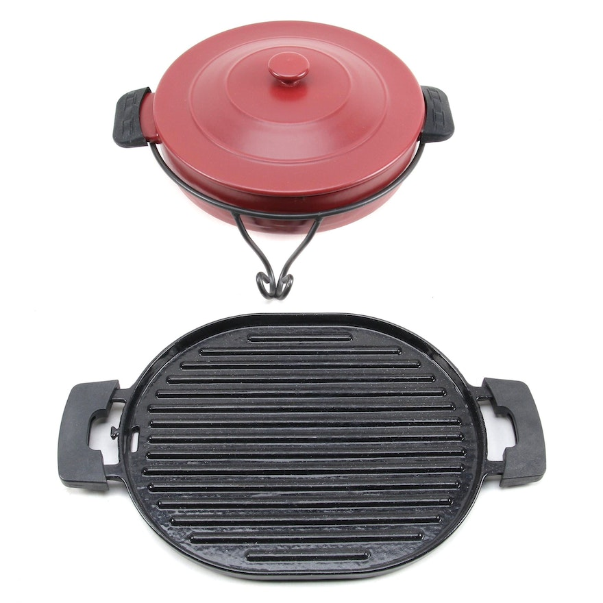 """Longaberger """"Woven Traditions"""" Ceramic Covered Casserole and Nuwave Grill Pan"""