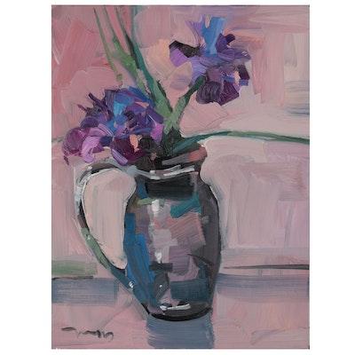 "Jose Trujillo Still Life Oil Painting ""African Violets,"" 2021"