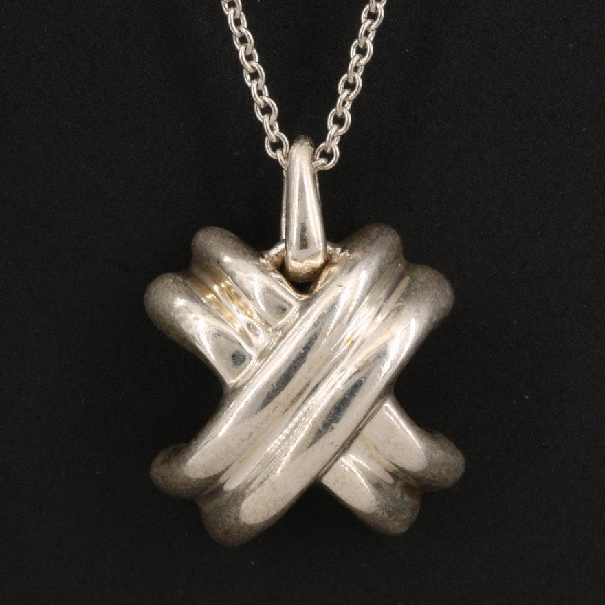 "Tiffany & Co. ""Signature X"" Sterling Silver Pendant Necklace"