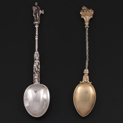 English Lewis Landon Imported 930 Silver Apostle Spoon and Other Gold Wash Spoon