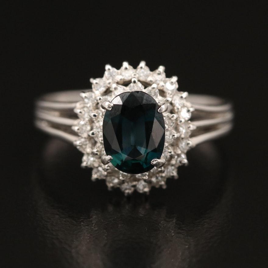 Platinum Sapphire and Diamond Halo Ring