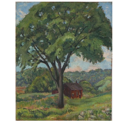 Harry Shokler Impressionistic Landscape Oil Painting, Early to Mid 20th Century