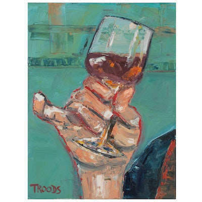 """Patricia Nolan-Brown Oil Painting """"A Toast with Pinky Out"""""""