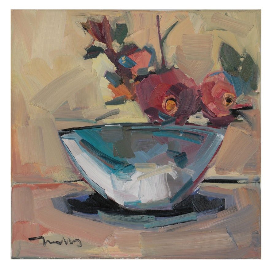 "Jose Trujillo Oil Painting ""Floral Bowl,"" 2021"