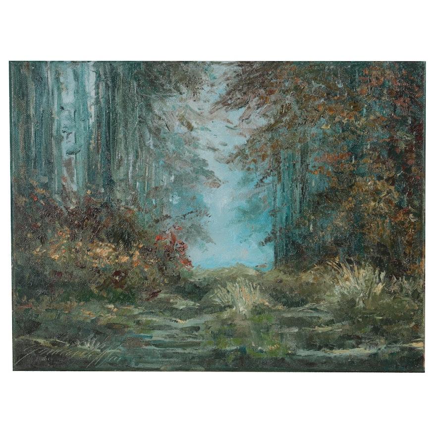 "Garncarek Aleksander Landscape Oil Painting ""W Lesie (In the Forest),"" 2021"