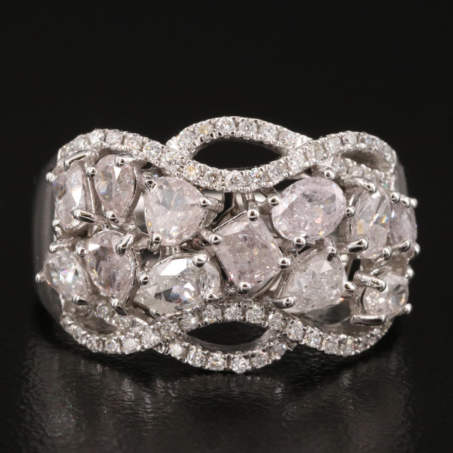 18K Gold 1.98 CTW Diamond Cluster Ring