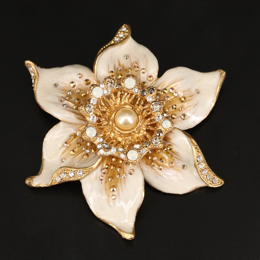 Jay Strongwater Sonia Daffodil Brooch with Box