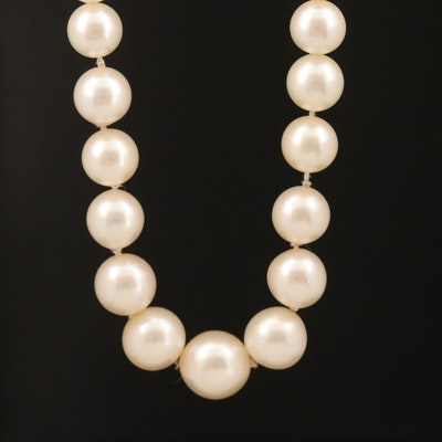 Graduated Akoya Pearl Necklace with 14K Pearl Shortener and GIA Report