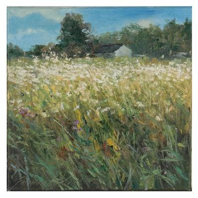 "Garncarek Aleksander Landscape Oil Painting ""Kwitnące Pole,"" 2021"