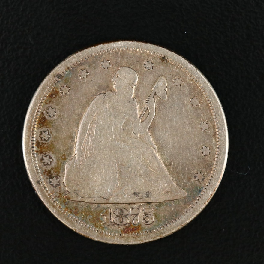 1875-S Seated Liberty Twenty Cent Silver Coin