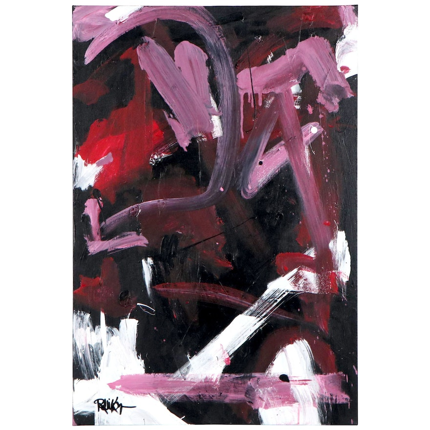 """Robbie Kemper Abstract Acrylic Painting """"Pink Curve White Splash,"""" 21st Century"""